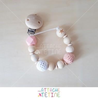 Attache tétine bois crochet