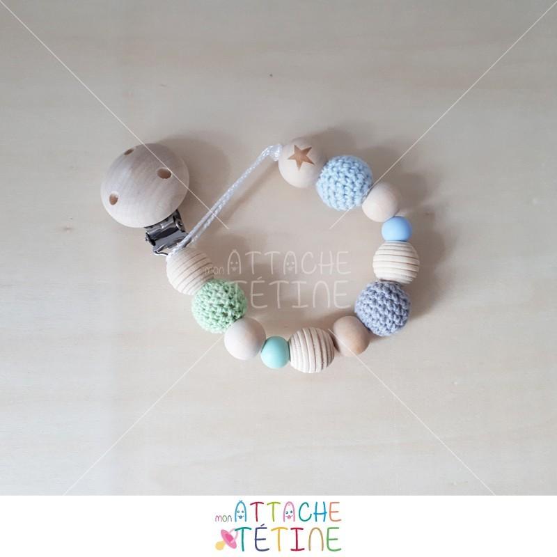 attache tetine crochets bois