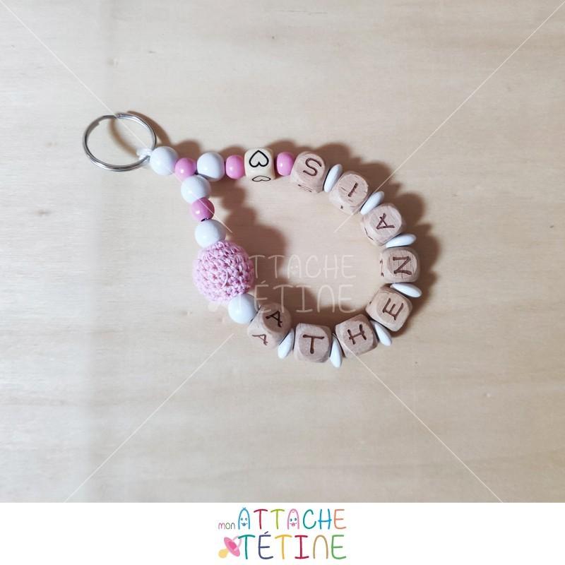 Porte - clés rond rose