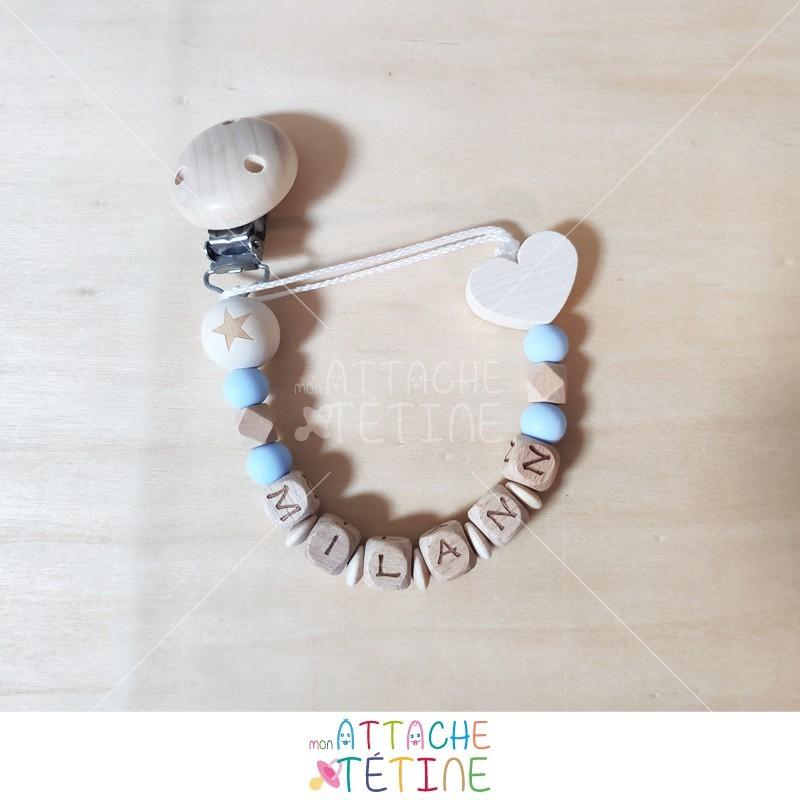 Attache tétine bleu silicone coeur