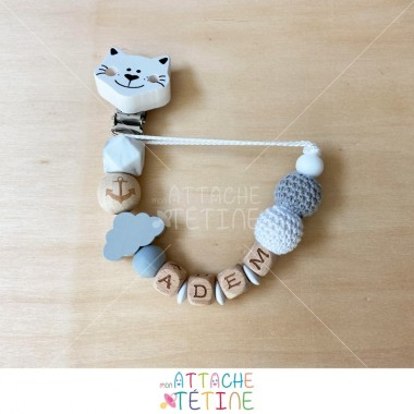 Attache tétine chat crochet