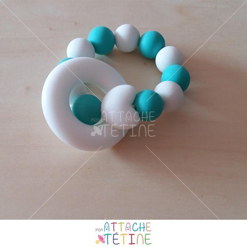 Anneau dentition turquoise et blanc