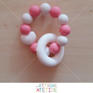 Anneau dentition rose bonbon blanc