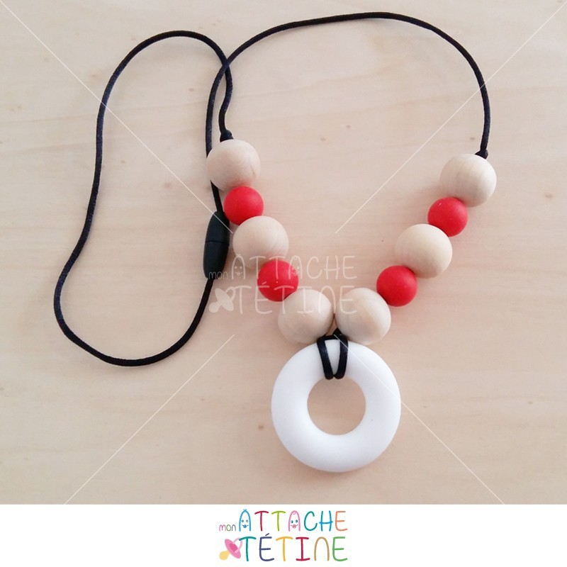 Collier d'allaitement silicone rouge
