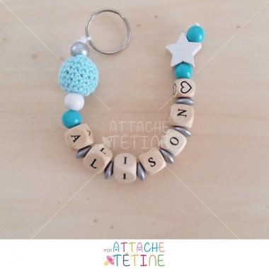 Porte - clés prénom turquoise