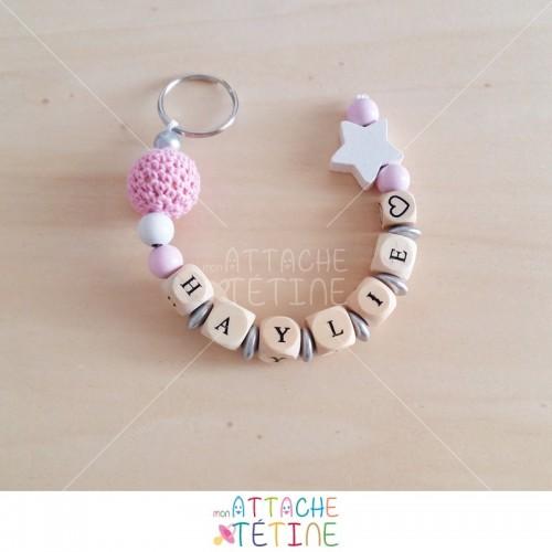 Porte - clés rose étoile